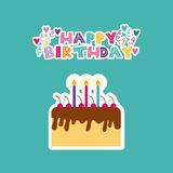 Happy birthday card. With cake with candles icon. colorful design.  illustration Royalty Free Stock Photos