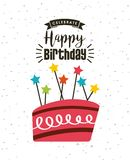 Happy birthday card. With cake with candles icon. colorful design. vector illustration Stock Photo
