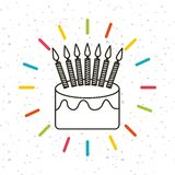 Happy birthday card. With cake with candles icon. colorful design. vector illustration Royalty Free Stock Photos