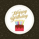 Happy birthday card. With cake with candles icon. colorful design. vector illustration Royalty Free Stock Photography