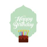 Happy birthday card. With cake with candles icon. colorful design. vector illustration Stock Photos