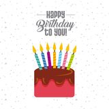 Happy birthday card. With cake with candles icon. colorful design. vector illustration Royalty Free Stock Images