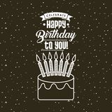 Happy birthday card. With cake with candles icon. colorful design. vector illustration Stock Photography