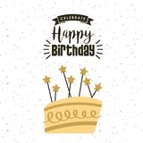 Happy birthday card. With cake with candles icon. colorful design. vector illustration Royalty Free Stock Photo