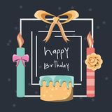 Happy birthday design. Happy birthday card with cake and candles icon colorful design vector illustration Royalty Free Stock Image