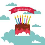 Happy birthday card. With cake with candles icon over sky background. colorful design.  illustration Stock Photos