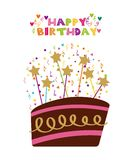 Happy birthday card. With cake with candles icon over white background. colorful design.  illustration Stock Image