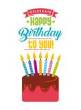 Happy birthday card. With cake with candles icon over white background. colorful design.  illustration Stock Photography