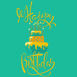 Happy birthday card with cake and candles. Vector birthday lettering on green background. EPS10.  vector illustration