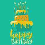 Happy birthday card with cake and candles. Vector birthday lettering on green background. EPS10.  Stock Image