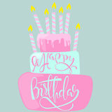 Happy birthday card with cake and candles. Vector illustration Stock Photography