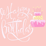 Happy birthday card with cake and candles. Vector lettering. EPS10. Happy birthday card with cake and candles. Vector illustration. EPS10 Royalty Free Stock Photos