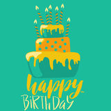 Happy birthday card with cake and candles. Vector lettering on green background. EPS10. Happy birthday card with cake and candles. Vector birthday lettering on royalty free illustration