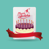 Happy birthday card cake celebration. Illustration eps 10 Stock Image