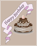 Happy birthday card with cake Stock Image