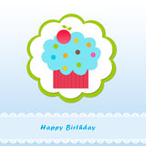 Happy Birthday card with a cake Stock Photography