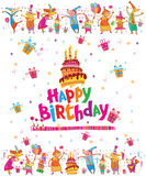 Happy Birthday card with cake royalty free illustration