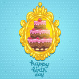 Happy Birthday card with cake in frame. Royalty Free Stock Photography