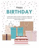 Happy birthday card with cake, gifts and balloons Isolated on White Background. Vector Illusrtation Stock Photography