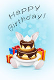 Happy Birthday Card with Cake and Gifts Royalty Free Stock Image