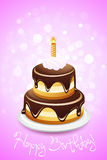 Happy Birthday Card with Cake Stock Photo