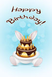 Happy Birthday Card with Cake Stock Photography