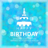 Happy birthday card with cake sign and Greetings Stock Photo