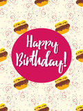 Happy Birthday card with cake. Happy Birthday vector illustration for holiday design, party poster, greeting card or invitation. Happy Birthday card with cake Stock Photography
