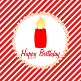 Happy Birthday card with a candle Stock Images