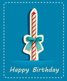 Happy birthday card candle and ribbon. Stock Images