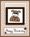 Happy Birthday card with cartoon dog character Royalty Free Stock Photo