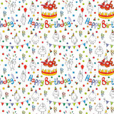 Happy birthday card. Cartoon funny bird on a string. Royalty Free Stock Image
