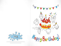Happy birthday card. Cartoon funny bird on a string. Royalty Free Stock Images