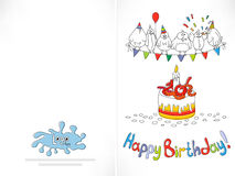 Happy birthday card. Cartoon funny bird on a string. Stock Image