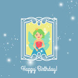 Happy Birthday card with cartoon princess Stock Photo