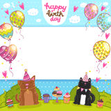 Happy Birthday card with cat, dog and cupcake Stock Images