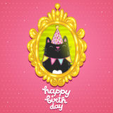 Happy Birthday card with a cat in frame. Royalty Free Stock Images