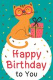 Happy Birthday card with cat and gift Royalty Free Stock Images