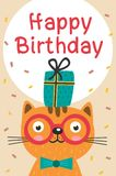 Happy Birthday card with cat in glasses and gift Royalty Free Stock Photos
