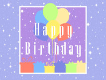 Happy Birthday card celebration banner. Balloons and gifts. Vector Stock Image