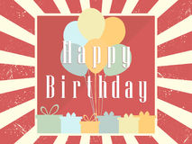 Happy Birthday card celebration banner. Festive retro poster. Balloons and gifts. Vector Royalty Free Stock Photo