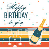Happy birthday card. Champagne bottle and glasses Royalty Free Stock Image