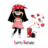 Happy Birthday Card a child pirate Stock Image