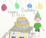 Happy birthday card- children drawing Royalty Free Stock Photos
