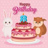 Happy birthday card with chipmunk and rabbit. Vector illustration design royalty free illustration