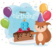 Happy birthday card with chipmunk. Vector illustration design royalty free illustration