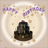 Happy birthday card chocolate pie Royalty Free Stock Images
