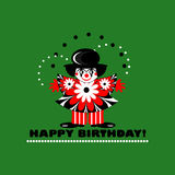 Happy birthday card with clown Stock Image
