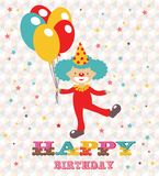 Happy birthday card with clown. Holding ballons Royalty Free Stock Photos