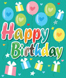 Happy Birthday Card With Color Balloons, Hearts And Gifts. Vector Background Illustration. Stock Images